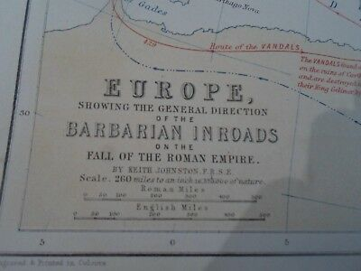 Map 1870 EUROPE General Direction Barbarian In Roads  Keith Johnston (Plate 23)