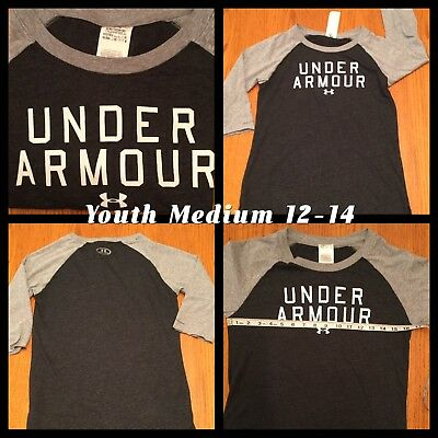 Under Armour Youth Medium 12-14 Charcoal & Light Gray Soft & Comfortable GUC