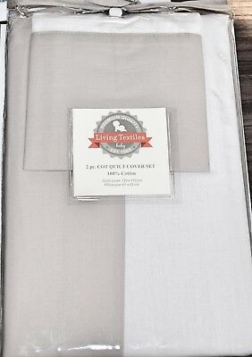 Living Textiles 2 Piece Cot Quilt Cover Set Pillowcase -Poplin Grey/white Cotton