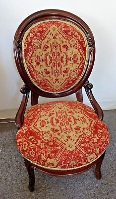 Antique Rosewood Slipper Chair Victorian Side W Carvings Tapestry Fabric