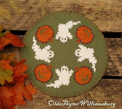 Primitive Stitchery HALLOWEEN Ghosts & Pumpkins Penny Rug ~  FALL Candle Mat