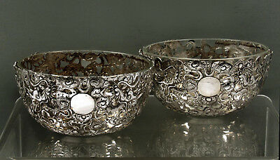 "Chinese Export Silver Tea Set      Bowls (2)       c1880  SIGNED    "" LINERS """