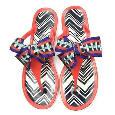 32e5651b58b3 Missoni Sandals 40 10 Flip Flops Orange Jelly Thong Chevron Pattern Bow  Flats
