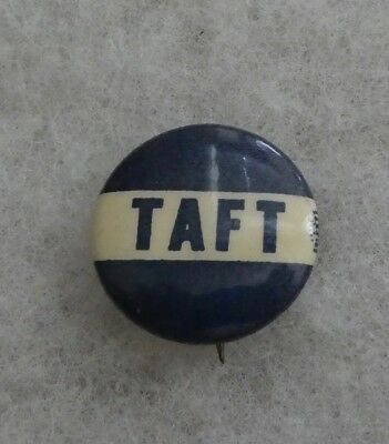 "Vintage 1908 ""taft"" Blue And White Campaign Button By J. B. Carroll, Chicago"