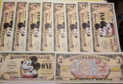 Ten (10) 1928 - 2008 Mickey's 80th, Disney Dollars, 1 Year Design, Retired, Mint