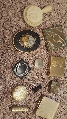 Vintage Lot Of Makeup Compacts 10 Items Look!!!!