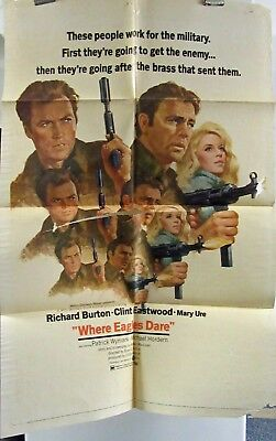 Where Eagles Dare Clint Eastwood original folded American one-sheet movie poster