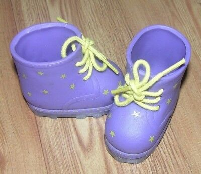 2fc629626674e4 American Girl Doll Purple Lace Up Boots With Yellow Stars   Shoe Strings