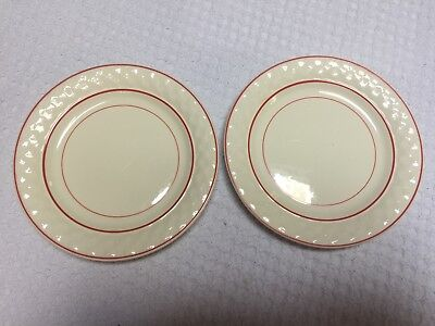 """Vintage Taylor Smith & Taylor Red Striped Art Deco 6"""" Bread Plates (2)"""