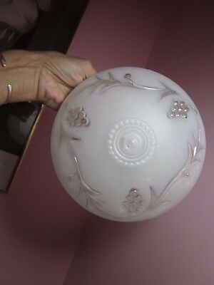 Vintage Glass Ceiling Light Shade Globe Frosted Embossed Grapevine Design  VGVC