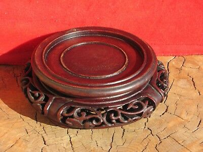 """A2290 19th Century Chinese Hand Carved Wood Stand 4""""D"""