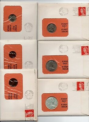 1966 Australia Coin Covers Set Fdc Pnc 99 Company (6 Covers)