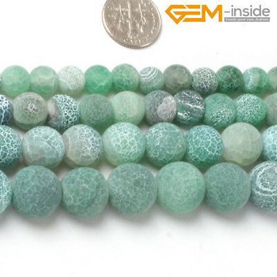 "Natural Round Frost Matte Green Agate Stone Spacer Beads For Jewelry Making 15""C"