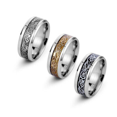 8mm 316L Stainless Steel Ring Man/Women's Band Silver Black Blue Gold Size 5-13