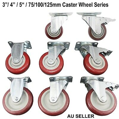 "Caster Wheels Castor Wheel 3""/4""/5"" 75/100/125mm  Swivel /Brake /Fixed Plastic"