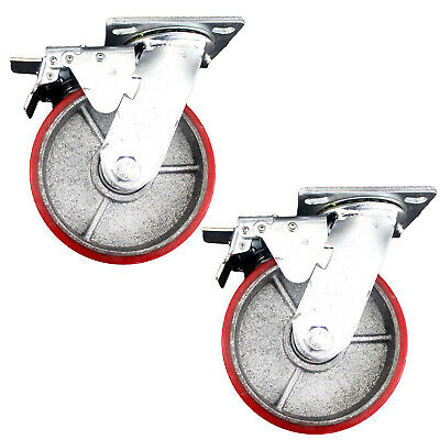 "2x 6""/15cm 500KG Heavy Duty Swivel Caster Wheels Castor Wheel Metal With Brake"