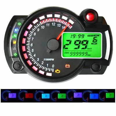 Motorcycle 15000RPM LCD Digital Odometer Speedometer Tachometer Gauge 299 TO