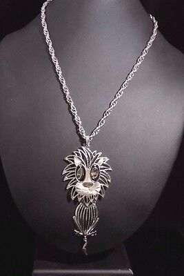 "Vintage Alan Lion Pendant Necklace Silver-tone 5.5"" Chunky 22.5"" Chain"