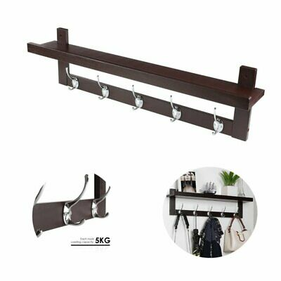 2 tier coat racks clothes robe hooks wall mounted hangers hallway storage Wooden