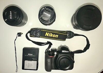 Nikon Camera+3 Lens Bundle (D3300 DSLR 24.2 MP HD 1080p +18-55mm, 55-200, 10-22)