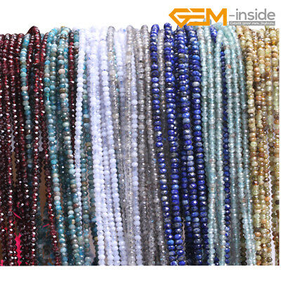 """Natural AAA Faceted Gemstone Rondelle Heishi Spacer Beads Jewellery Making 15""""CA"""