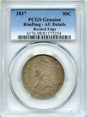 1837 Capped Bust Half Dollar PCGS AU Details ~ Reeded Edge 50c (81175254)
