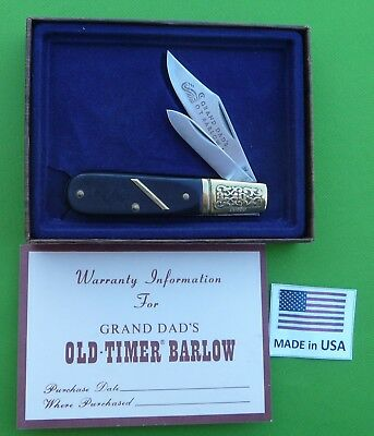 """Schrade USA G.D.B.1.  Grand Dad's Old Timer  """"Barlow"""" Skinning Knife in Box"""