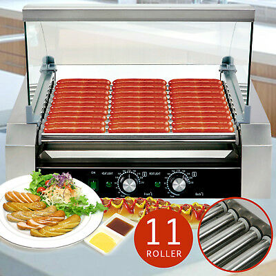 Commercial 11 Roller Hot Dog Grill Cooker Machine W/Cover For Restaurant Vending
