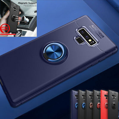 Magnetic Metal Ring Stand Case for Samsung Note 9/J6 A6 S8 S9 Plus Hybrid Cover