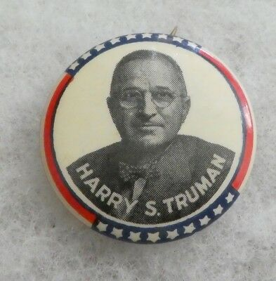 Vintage 1948 Harry S. Truman Red, White And Blue Stars And Stripes Button