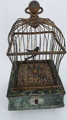 Antique French Flajoulot Paris Gilt Gold Singing Bird Cage Music Box Automaton