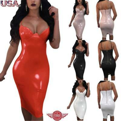 Women's Sexy Wetlook Latex Bodycon Dresses Leather Cocktail Midi Dress Clubwear