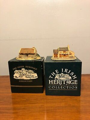 The Irish Heritage Collection Bundle Of Two Figurine Houses In Excellent Con