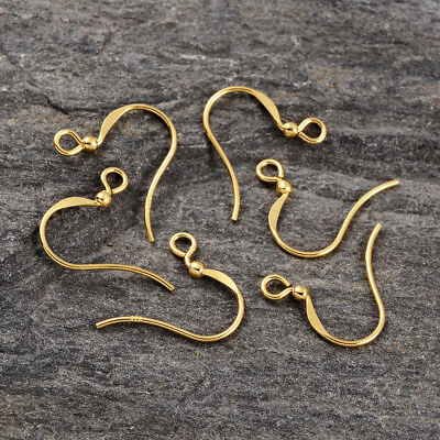 10PC Gold Plated Sterling Silver Flat Earring Hooks Smooth Earring Findings 15mm