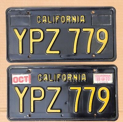 1963 California Black License Plates YPZ 779 DMV Clear Very Fine Cond ALPCA