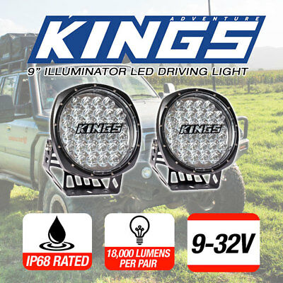 Pair 9inch Adventure Kings Spot LED Driving Lights Round Spotlights 4WD 4x4