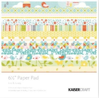 "Kaisercraft Paper Pad Fine & Sunny 6.5""x6.5"" Scrapbooking Cards"