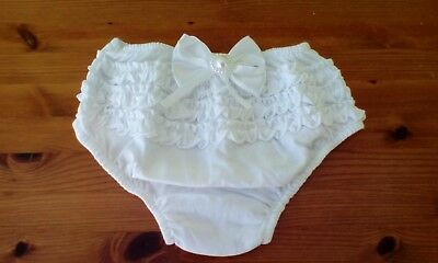 baby christening white frilly pants/knickers with white bow size 6-9 mths new;