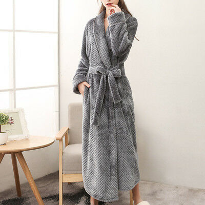 Mens Womens Fleece Long Toweling Bath Robe Dressing Gown Soft Cover Home Coats
