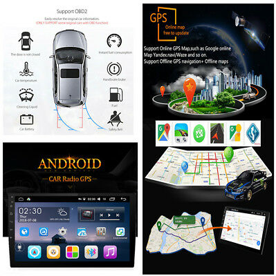 9''Android 6.0 2Din Capacitive Touch Car GPS Navigation DVR DVD Bluetooth SWC