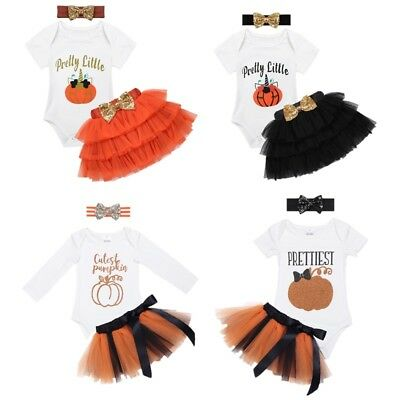 Kids Baby Girls Pumpkin Outfit Dress Halloween Party Casual Costume Tutu Skirt