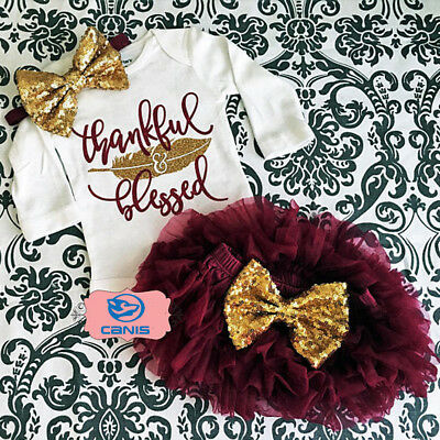 Thanksgiving Newborn Baby Girls Tops Romper+Tutu Skirts Sequins Bow Outfits Set