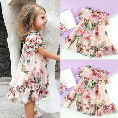 Chiffon Toddler Kid Baby Girl Princess Flowers Party Tutu Tulle Dress Clothes US