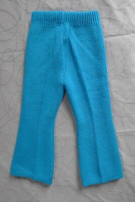 Vintage retro 60s 1 - 2 years toddler girls aqua knit pants flares unused NOS