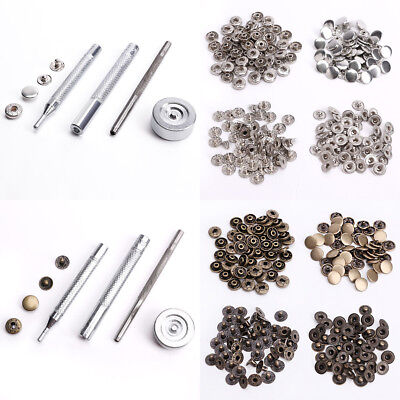 50 x 10-15mm Snap Fastener Poppers Press Stud /Fixing Tool Silver/Golden/Black