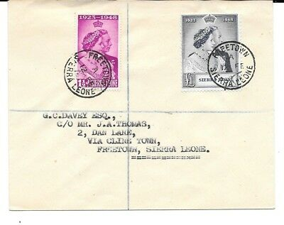 SIERRA LEONE 1948 GVI Royal Silver Wedding set(2) on regist.cover, v.f.u.