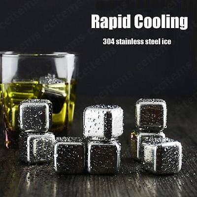 Stainless Steel Wine Cooling Stones Ice Cubes Chillers Drink Whiskey Scotch