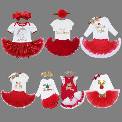 Christmas Baby Girl Infant Romper Tops+Floral Tutu Dress Outfit Headband Clothes