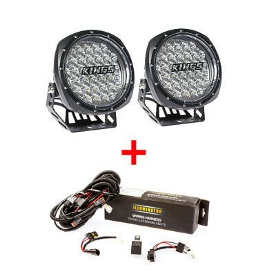 2x 7inch Round LED Driving Lights + Wiring Harness Kit 4x4 Offroad Spotlights