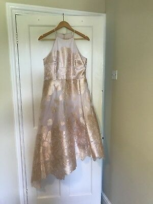 ee1884090b6 COAST ROSIE GOLD Leaf Jacquard Dress 14 - EUR 42